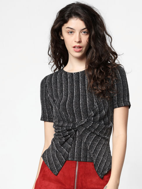 Grey Shimmer Front Twist Top