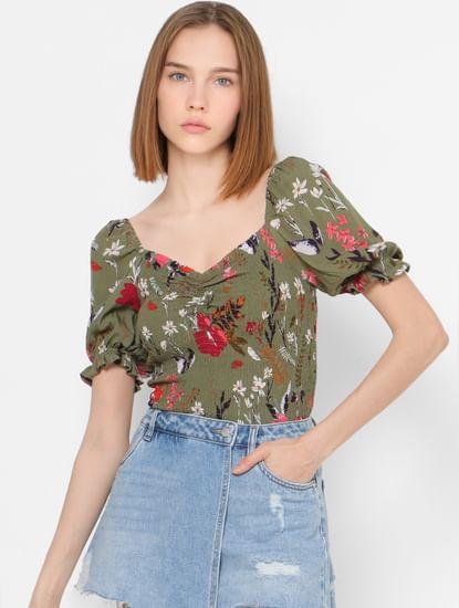 Green Floral Print Smock Top