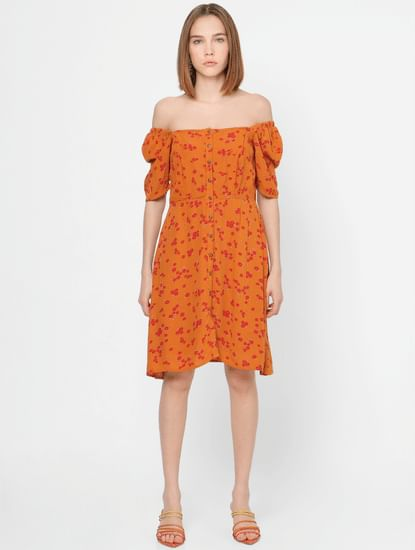 Orange Floral Off-Shoulder Shift Dress