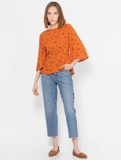 Orange Floral Ruching Detail Flared Top