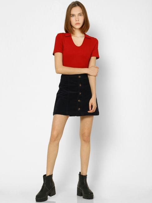 Red Ribbed Cropped Polo Neck T-shirt