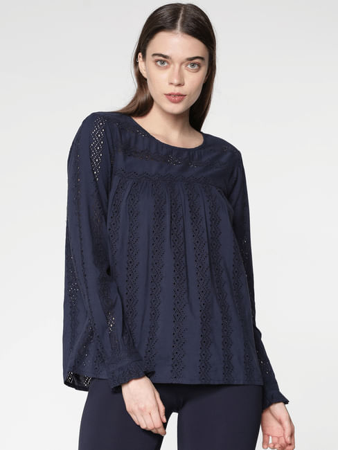 Navy Blue Schiffli Embroidered Top