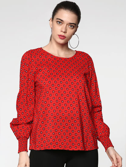 Red All Over Print Top