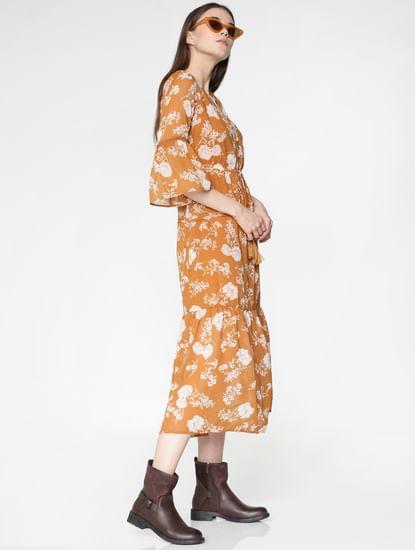 Orange Floral Print Midi Dress