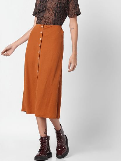 Brown Mid Rise Skirt