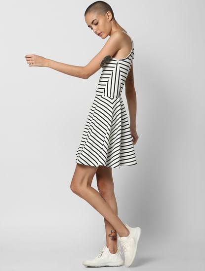 White Striped Skater Dress