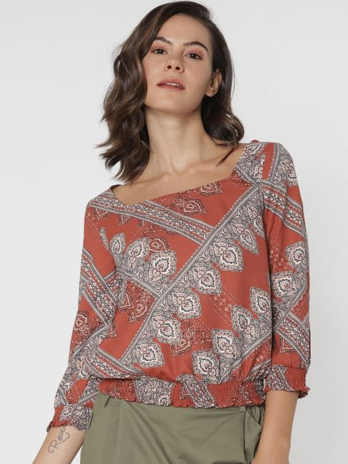 Brown All Over Print Top