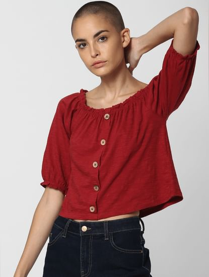 Dark Red Cropped Top