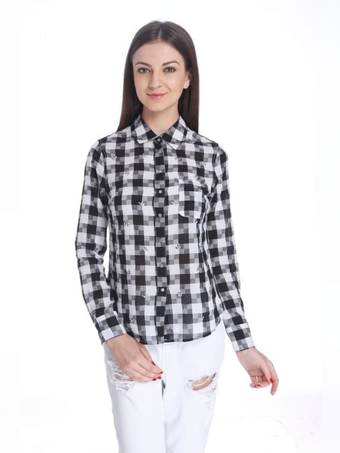 Checks/Embellished Casual Shirt