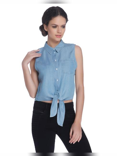 Sleeveless Blue Knotted Shirt