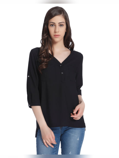 Quarter Sleeves Black Shirt