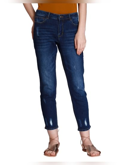 Dark Blue Ripped Mid Rise Straight Fit Jeans