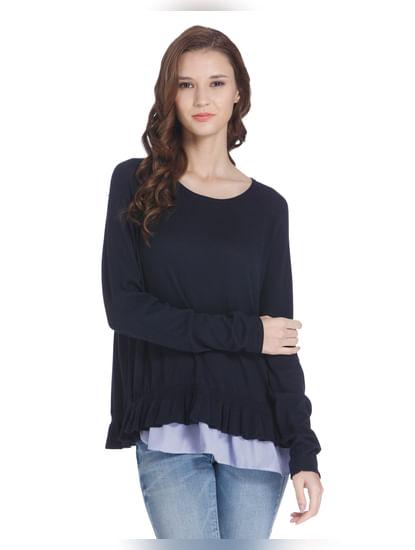 Dark Blue Ruffled Hem Pullover