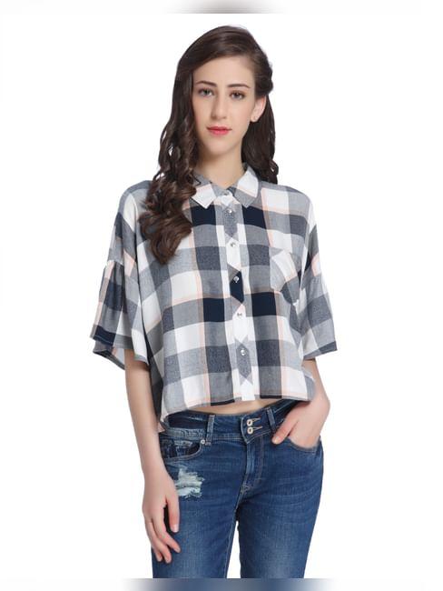 Buffalo Check Drop Shoulder Crop Shirt