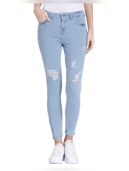Light Blue Low Rise Ripped Skinny Fit Jeans