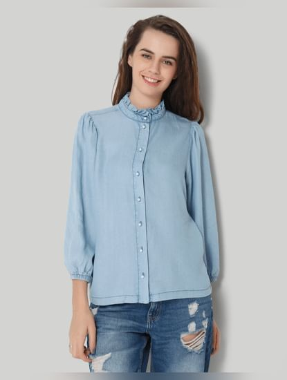 Blue Ruffled Collar 3/4Th Sleeve Denim Shirt