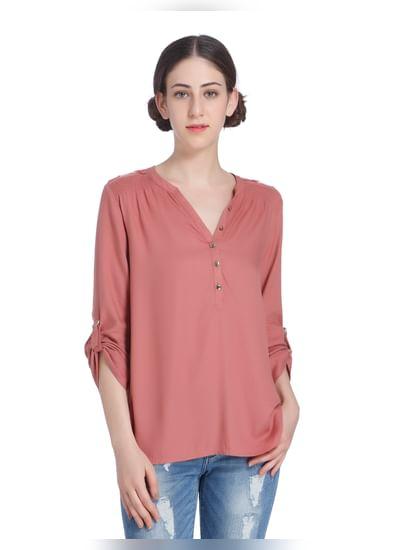 Brick Pink Button Up Sleeves Shirt