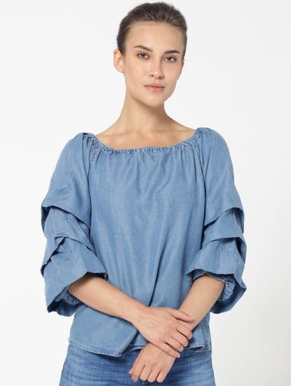 Blue Ruffle Sleeves Denim Top