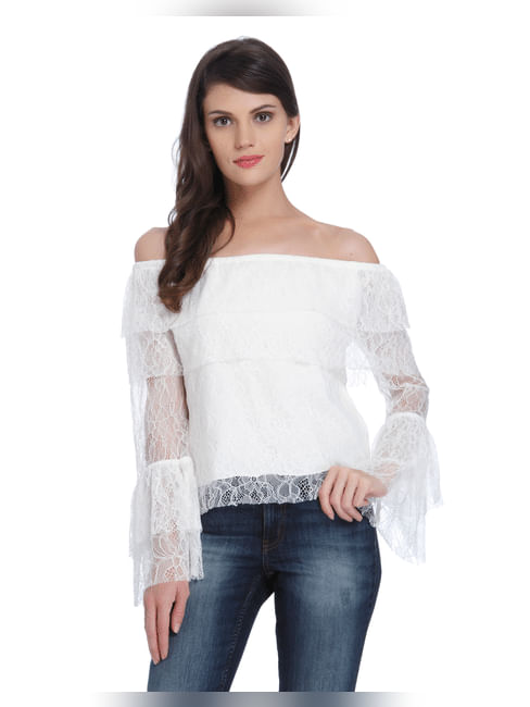White Off Shoulder Lace Top