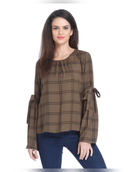 Brown Tulip Sleeves Check Top