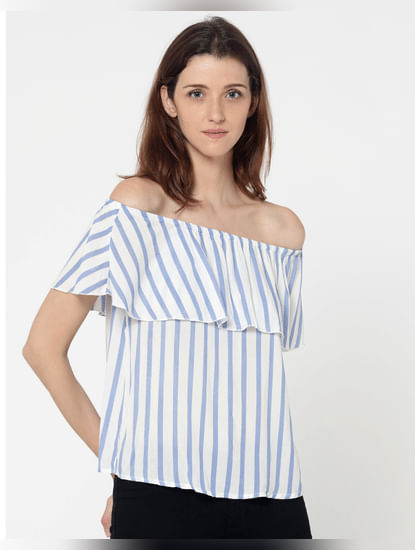 White And Blue Striped Off Shoulder Layered Top