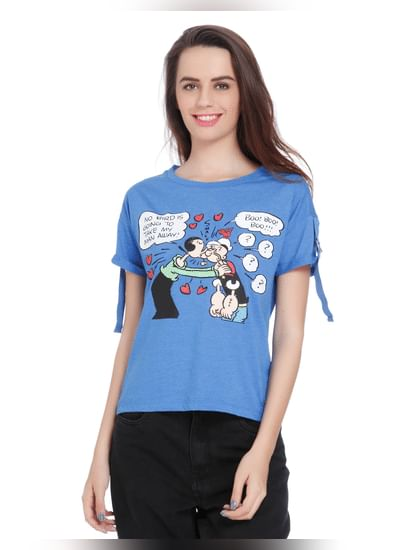 X Popeye Blue Popeye And Olive Oyl Print Top