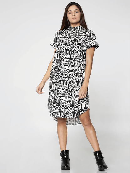 X Mickey White And Black All Over Mickey Print Long Shirt