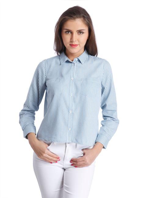 Casual Stripe Denim Shirt