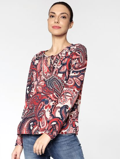 White All Over Paisley Print Top