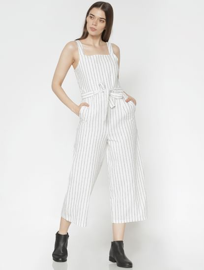 White Striped Ankle Length Jumpsuit