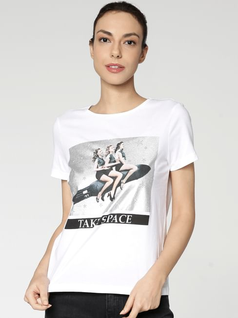 White Graphic Print T-Shirt