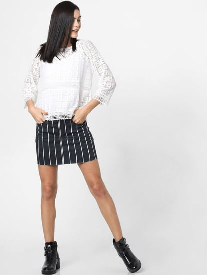 Black Mid Rise Striped Mini Skirt