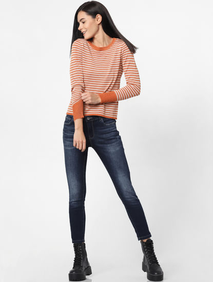 Orange Striped Pullover