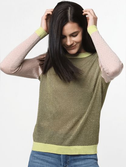Green Colourblocked Pullover