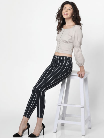 Black Mid Rise Striped Skinny Pants