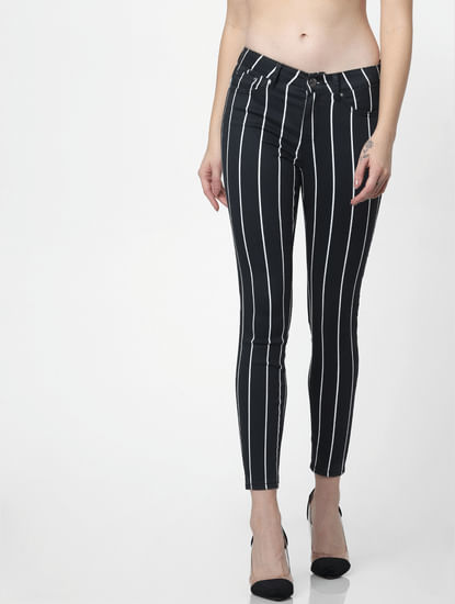 Black Mid Rise Striped Skinny Pants