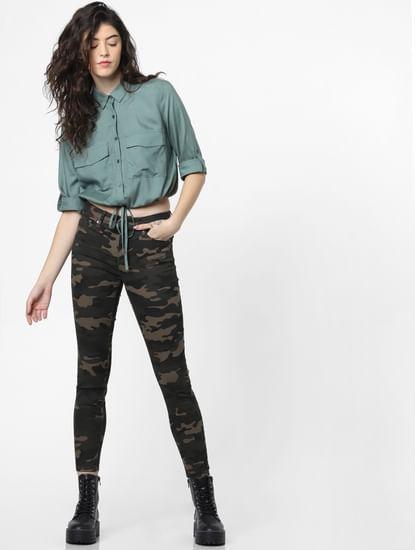 Dark Green Mid Rise Camo Print Skinny Pants