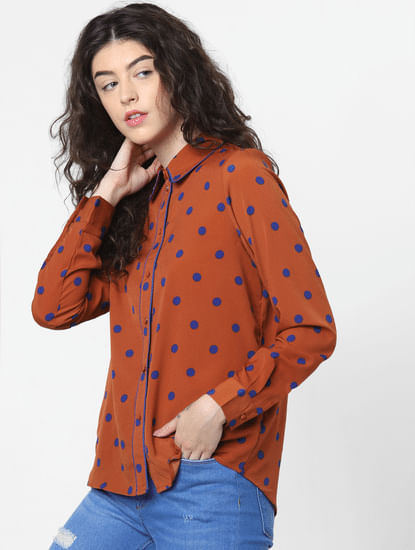 Brown Polka Dot Print Shirt