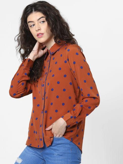 Brown Polka Dot Print Shirt