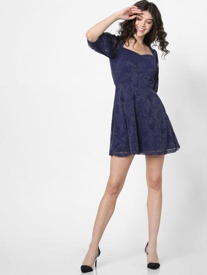 Blue Shimmer Fit & Flare Dress