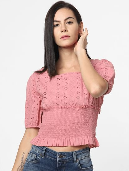 Pink Cut Work Smock Top