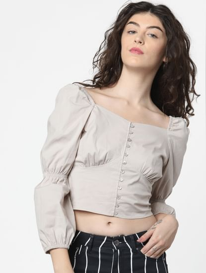 Grey Cinched Sleeves Top