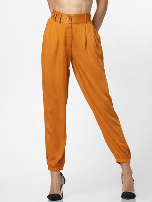Orange Mid Rise Casual Pants