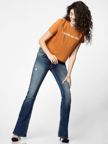 Orange Text Print Cropped T-shirt
