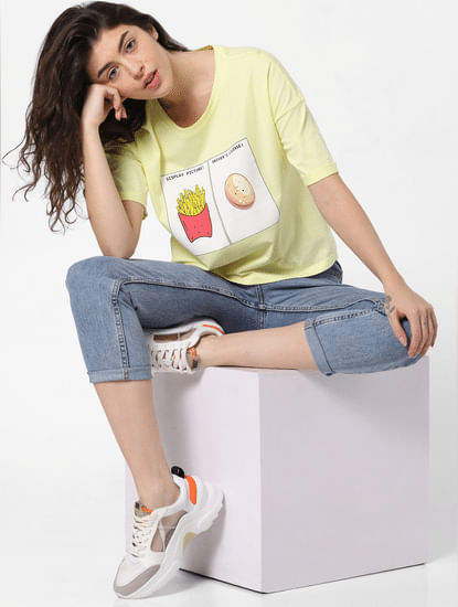 Yellow Graphic Print Cropped T-shirt