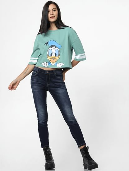 Green Donald Duck Print Cropped T-shirt