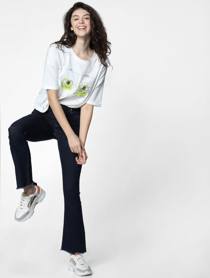 White Graphic Print Cropped T-shirt