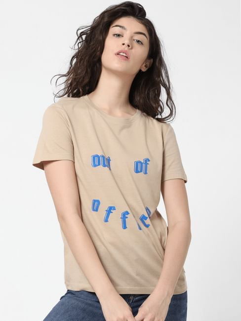 Beige Text Print T-shirt