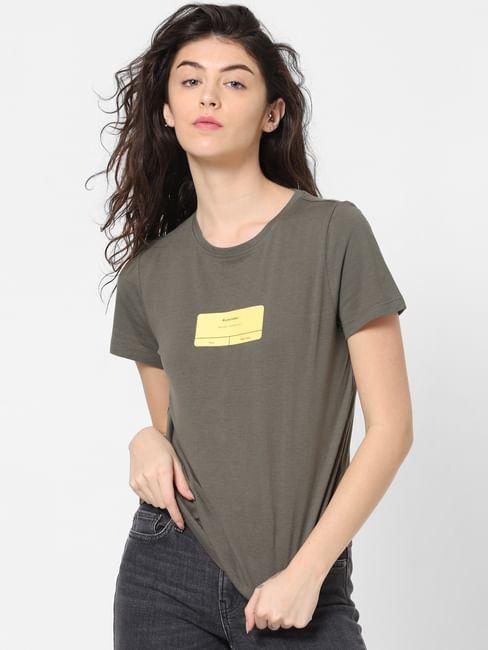 Green Patch Print T-shirt
