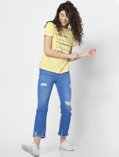 Blue Mid Rise Distressed Straight Fit Jeans